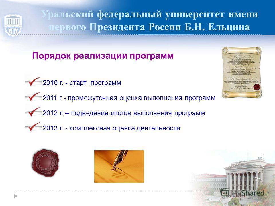 Порядок реализации программ 2013 г. - комплексная оценка деятельности 2011 г - промежуточная оценка выполнения программ 2012 г. – подведение итогов выполнения программ 2010 г. - старт программ Уральский федеральный университет имени первого Президент