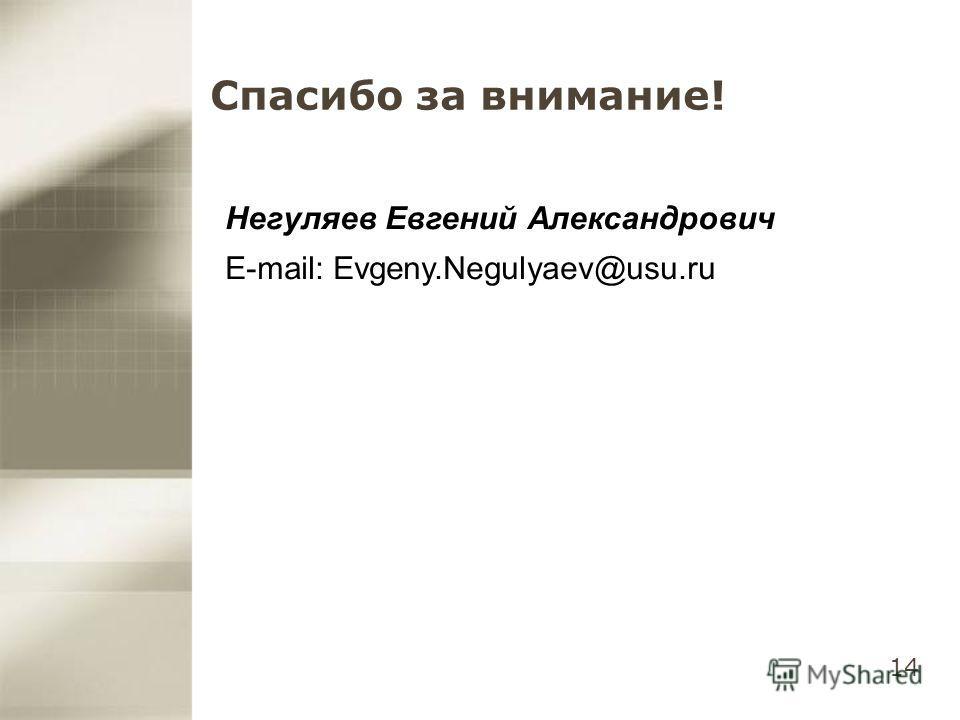 14 Спасибо за внимание! Негуляев Евгений Александрович E-mail: Evgeny.Negulyaev@usu.ru