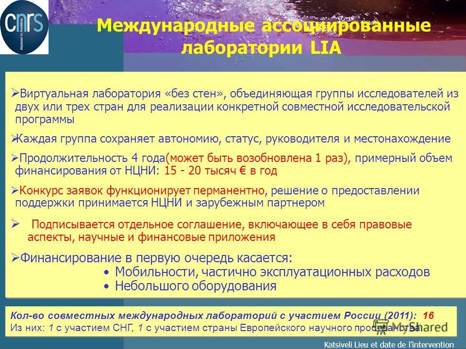 Katsiveli Lieu et date de lintervention Международные ассоциированные лаборатории LIA Виртуальная лаборатория «без стен», объединяющая группы исследователей из двух или трех стран для реализации конкретной совместной исследовательской программы Кажда