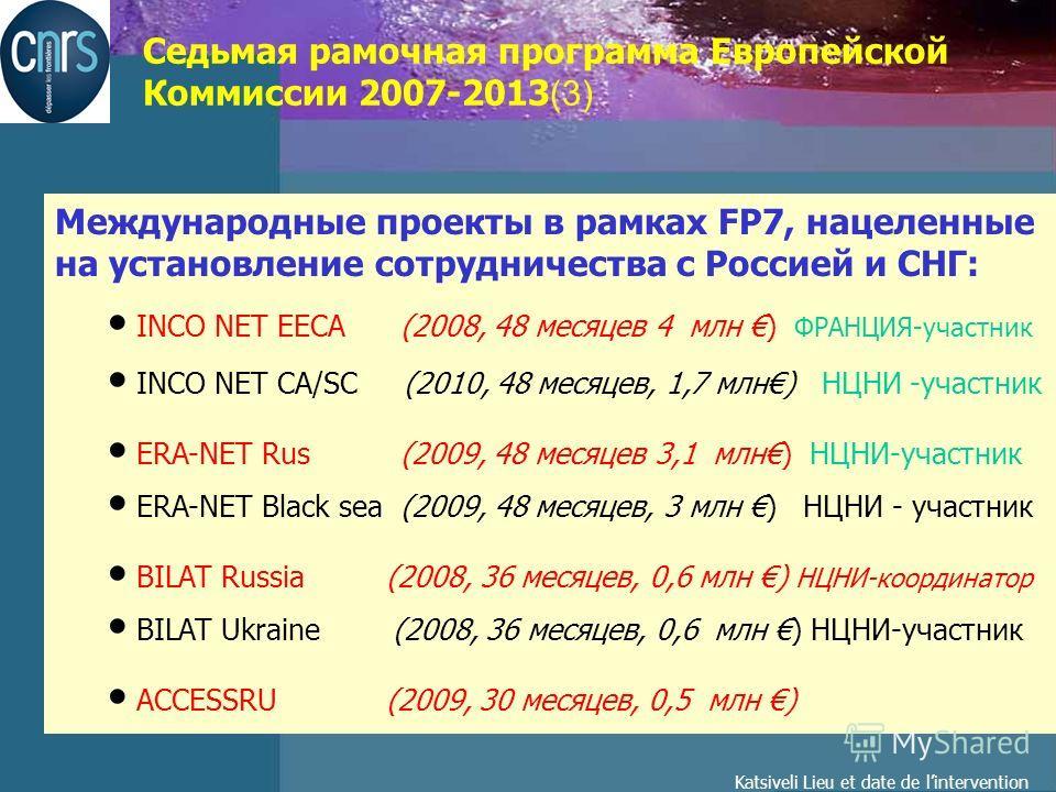 Katsiveli Lieu et date de lintervention Седьмая рамочная программа Европейской Коммиссии 2007-2013 (3) Международные проекты в рамках FP7, нацеленные на установление сотрудничества с Россией и СНГ: INCO NET EECA (2008, 48 месяцев 4 млн ) ФРАНЦИЯ-учас