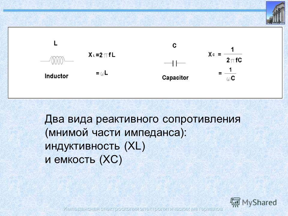 Импедансная спектроскопия электролитических материалов Два вида реактивного сопротивления (мнимой части импеданса): индуктивность (XL) и емкость (XC)