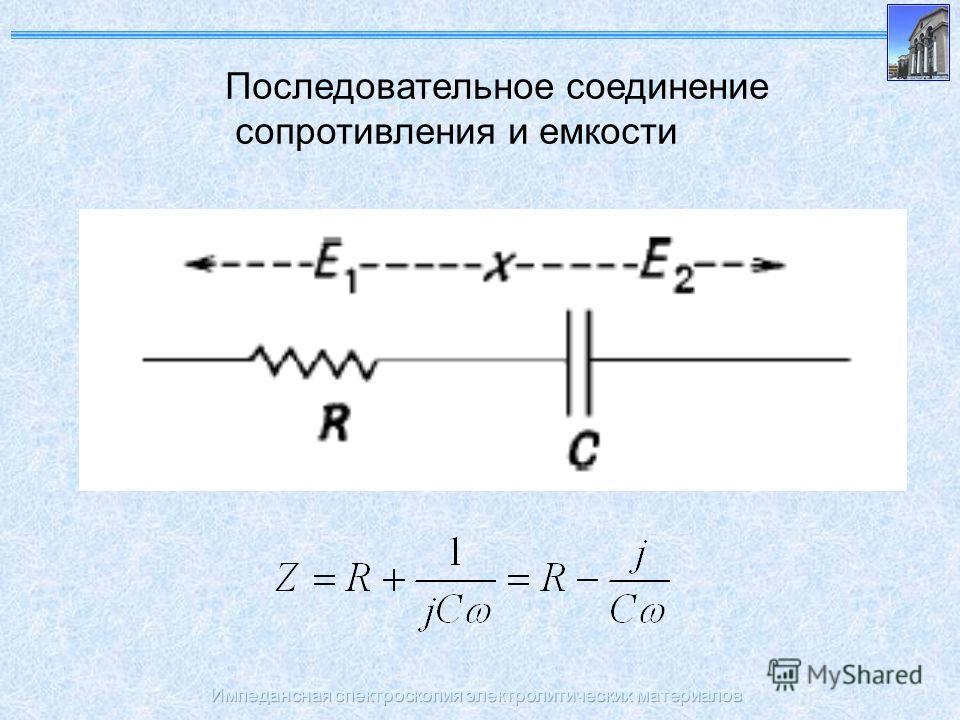 Импедансная спектроскопия электролитических материалов Последовательное соединение сопротивления и емкости
