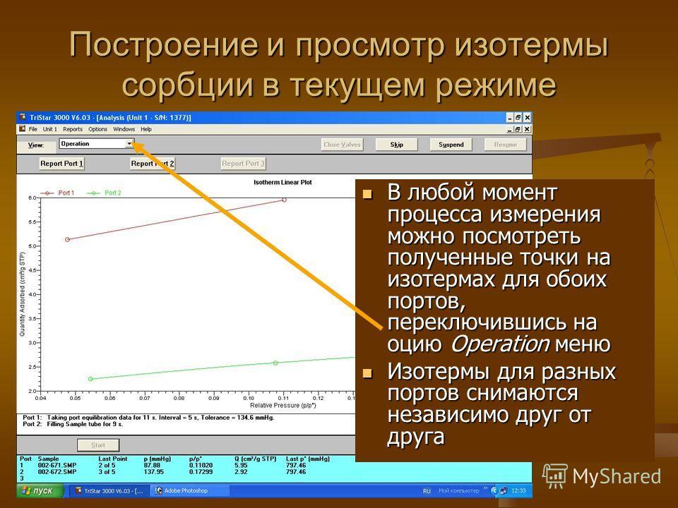 Построение и просмотр изотермы сорбции в текущем режиме В любой момент процесса измерения можно посмотреть полученные точки на изотермах для обоих портов, переключившись на оцию Operation меню Изотермы для разных портов снимаются независимо друг от д