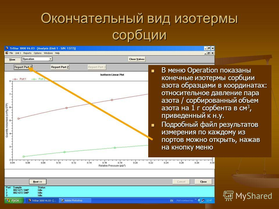 Окончательный вид изотермы сорбции В меню Operation показаны конечные изотермы сорбции азота образцами в координатах: относительное давление пара азота / сорбированный объем азота на 1 г сорбента в см 3, приведенный к н.у. Подробный файл результатов