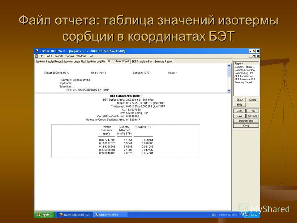 Файл отчета: таблица значений изотермы сорбции в координатах БЭТ