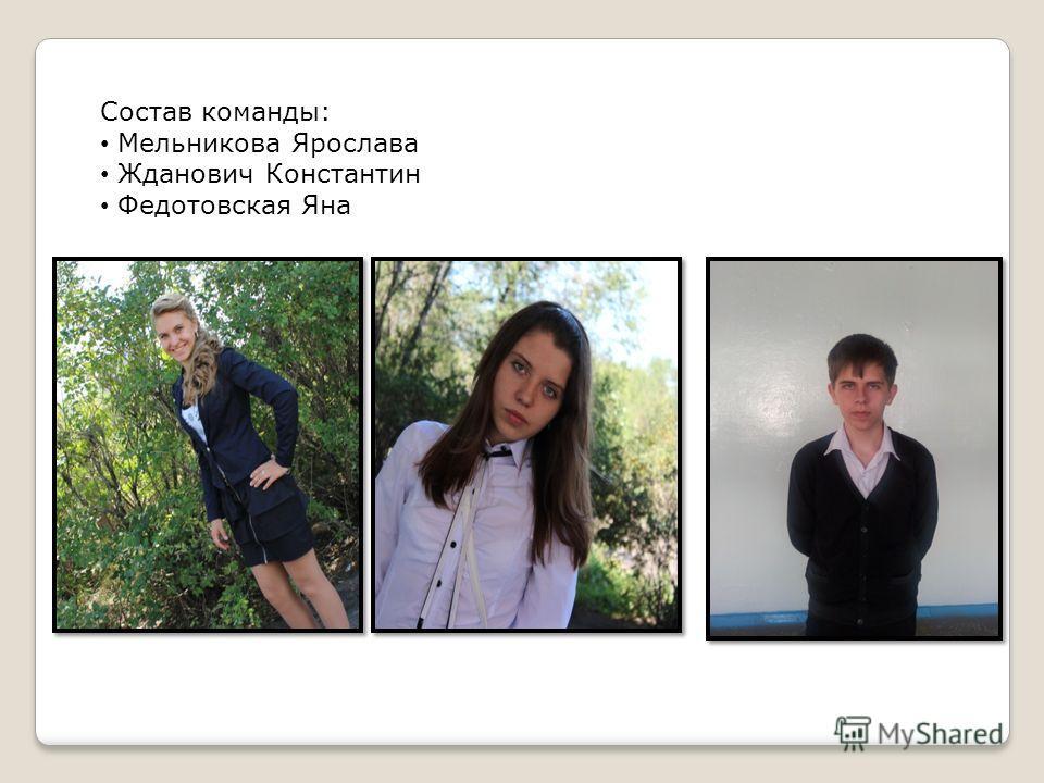 Состав команды: Мельникова Ярослава Жданович Константин Федотовская Яна