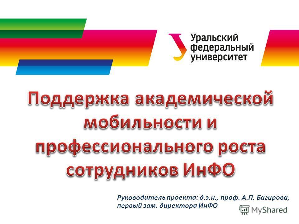Руководитель проекта: д.э.н., проф. А.П. Багирова, первый зам. директора ИнФО
