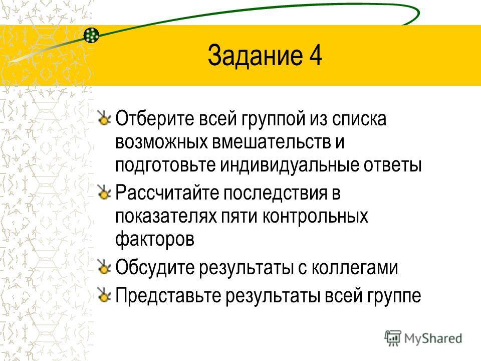 Задание 4 Отберите всей группой из списка возможных вмешательств и подготовьте индивидуальные ответы Рассчитайте последствия в показателях пяти контрольных факторов Обсудите результаты с коллегами Представьте результаты всей группе