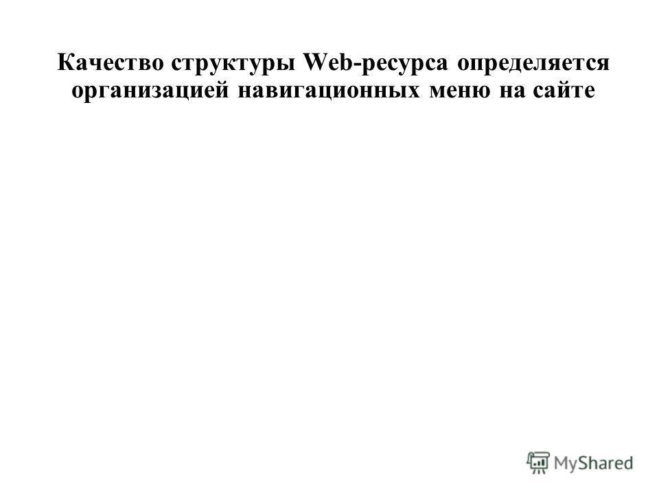 Качество структуры Web-ресурса определяется организацией навигационных меню на сайте