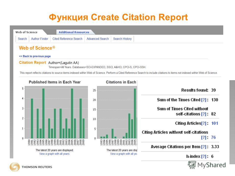 Функция Create Citation Report