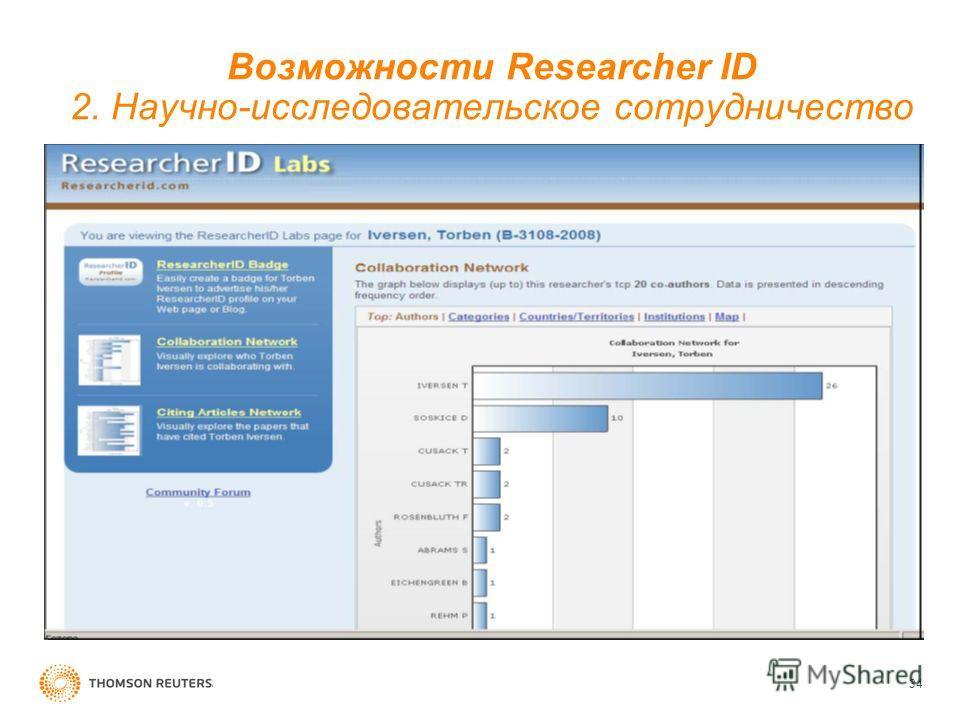 Возможности Researcher ID 2. Научно-исследовательское сотрудничество 34