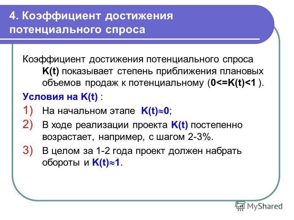 4. Коэффициент достижения потенциального спроса Коэффициент достижения потенциального спроса K(t) показывает степень приближения плановых объемов продаж к потенциальному (0