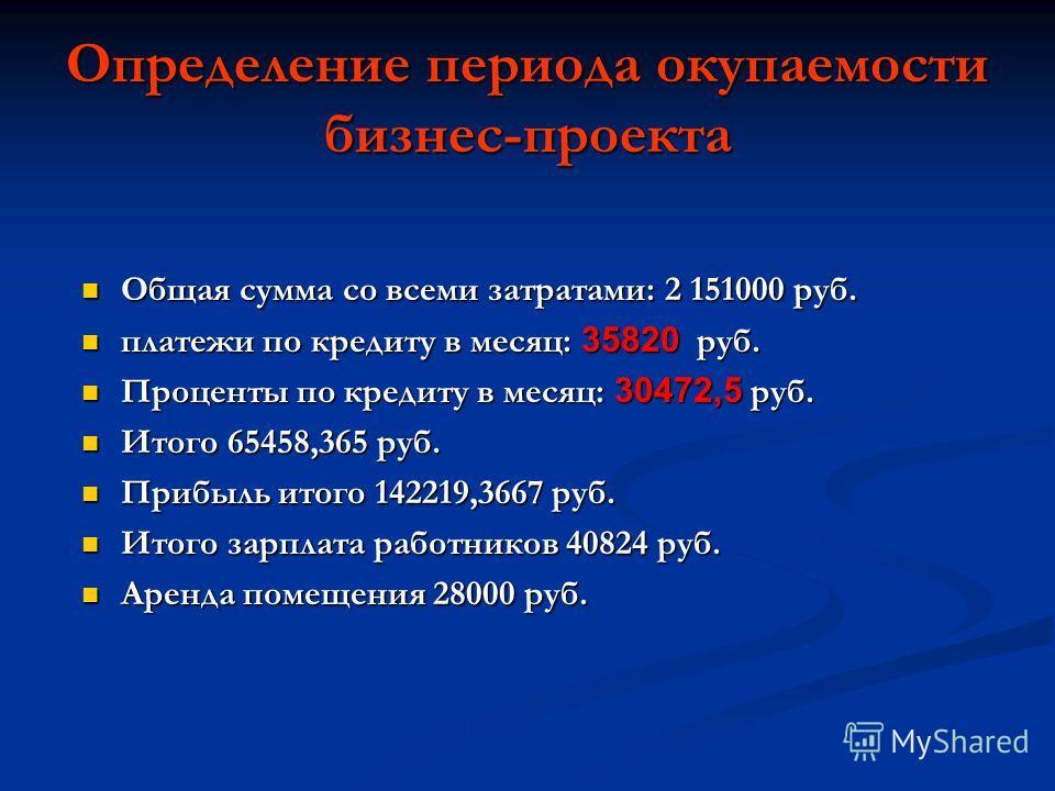 Определение периода окупаемости бизнес-проекта Общая сумма со всеми затратами: 2 151000 руб. Общая сумма со всеми затратами: 2 151000 руб. платежи по кредиту в месяц: 35820 руб. платежи по кредиту в месяц: 35820 руб. Проценты по кредиту в месяц: 3047