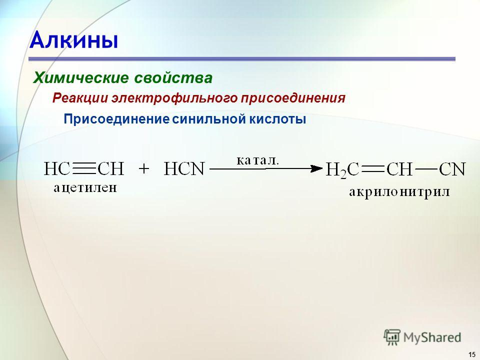 15 Алкины Химические свойства Присоединение синильной кислоты Реакции электрофильного присоединения