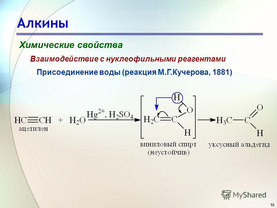 16 Алкины Химические свойства Присоединение воды (реакция М.Г.Кучерова, 1881) Взаимодействие с нуклеофильными реагентами