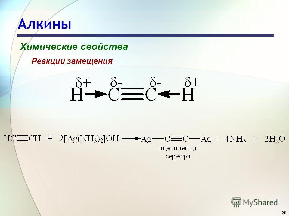 20 Алкины Химические свойства Реакции замещения