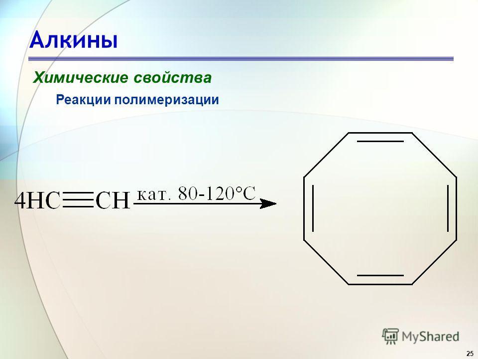 25 Алкины Химические свойства Реакции полимеризации