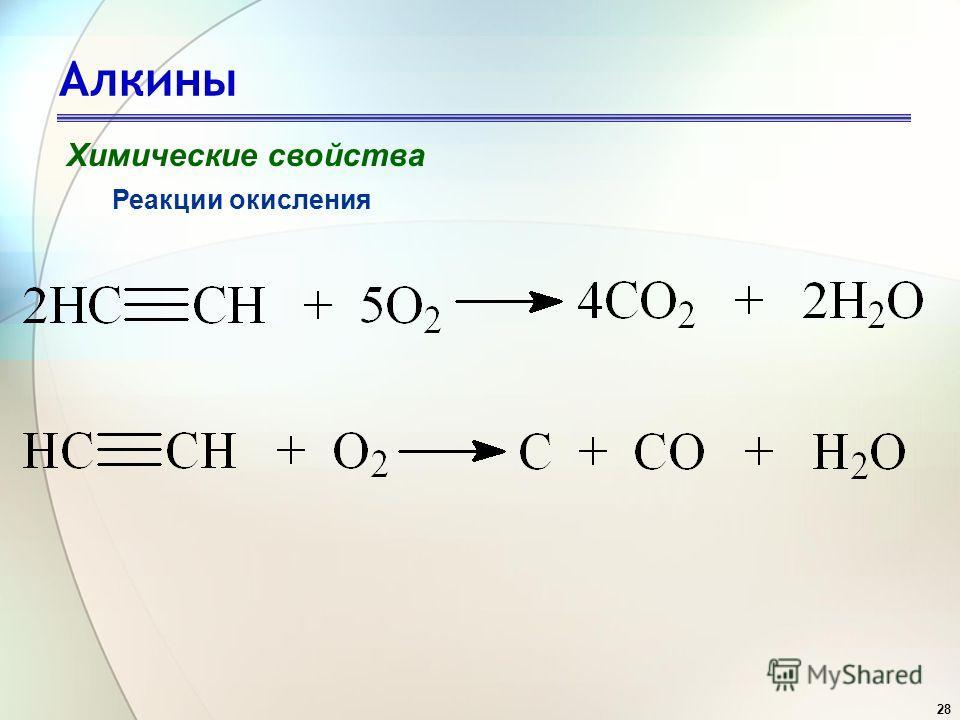 28 Алкины Химические свойства Реакции окисления