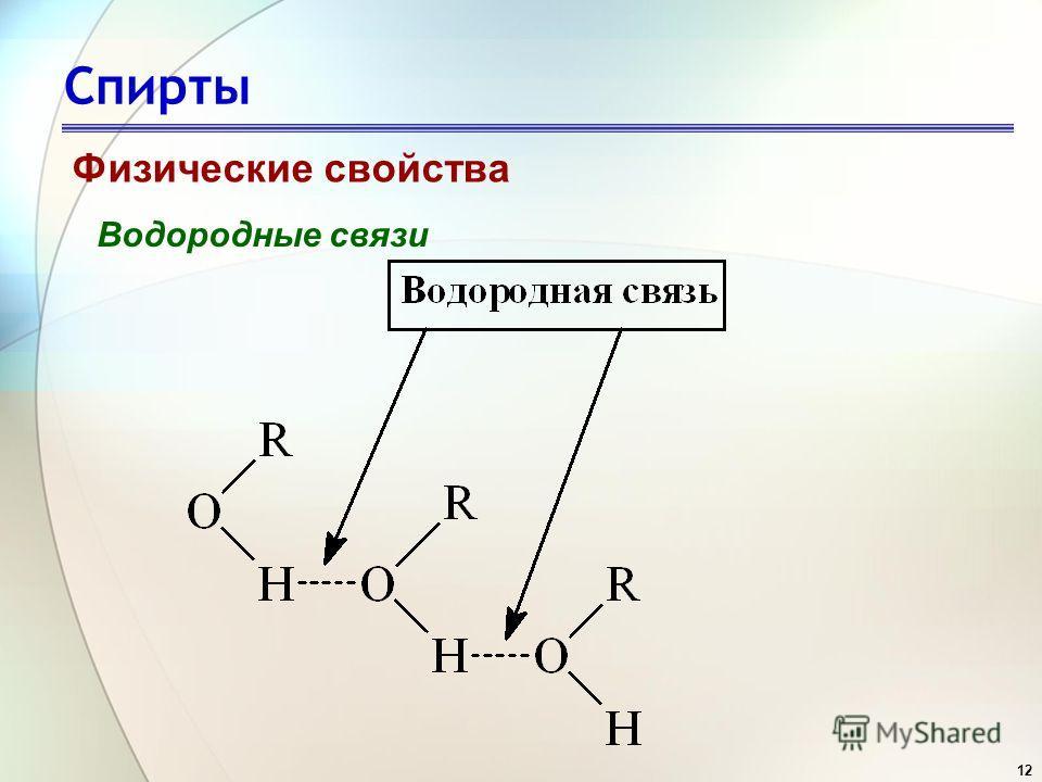 12 Спирты Физические свойства Водородные связи
