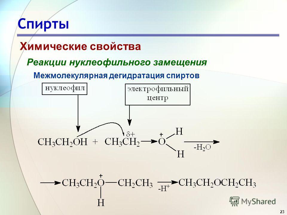 23 Спирты Химические свойства Реакции нуклеофильного замещения Межмолекулярная дегидратация спиртов