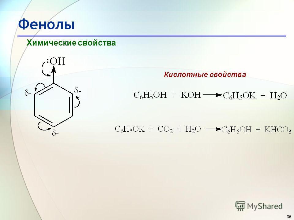 36 Фенолы Химические свойства Кислотные свойства