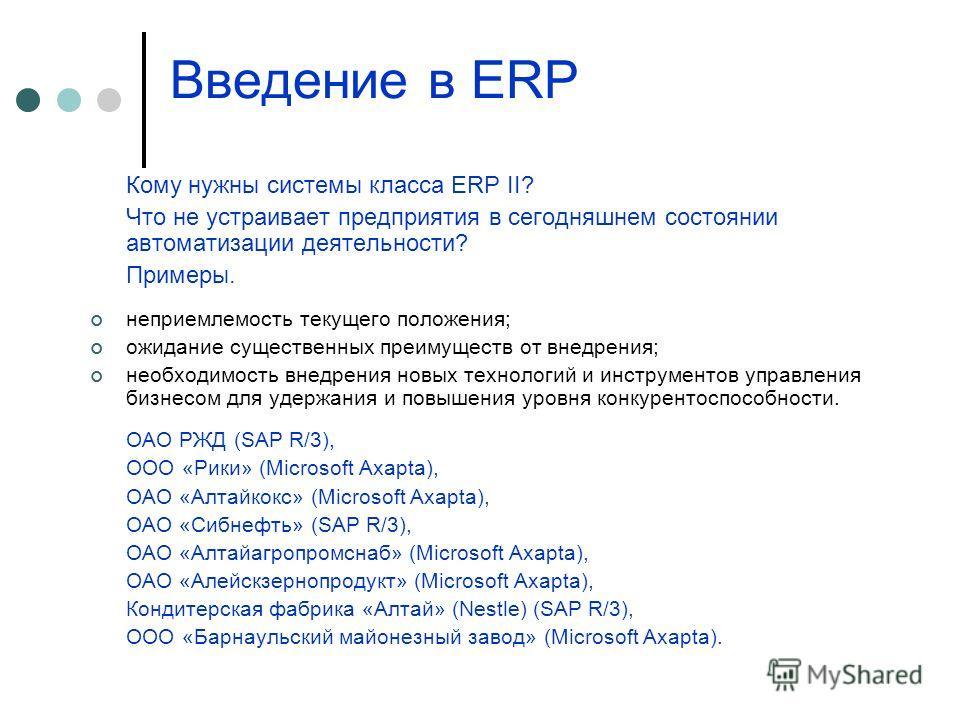 Введение в ERP Кому нужны системы класса ERP II? Что не устраивает предприятия в сегодняшнем состоянии автоматизации деятельности? Примеры. неприемлемость текущего положения; ожидание существенных преимуществ от внедрения; необходимость внедрения нов