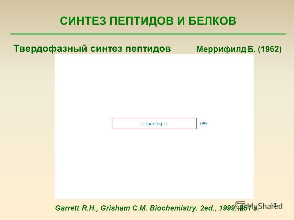 43 СИНТЕЗ ПЕПТИДОВ И БЕЛКОВ Твердофазный синтез пептидов Меррифилд Б. (1962) Garrett R.H., Grisham C.M. Biochemistry. 2ed., 1999. 851 s.