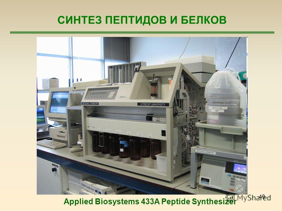 49 СИНТЕЗ ПЕПТИДОВ И БЕЛКОВ Applied Biosystems 433A Peptide Synthesizer