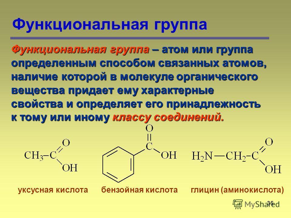 35 Функциональная группа Функциональная группа – атом или группа определенным способом связанных атомов, наличие которой в молекуле органического вещества придает ему характерные свойства и определяет его принадлежность к тому или иному классу соедин