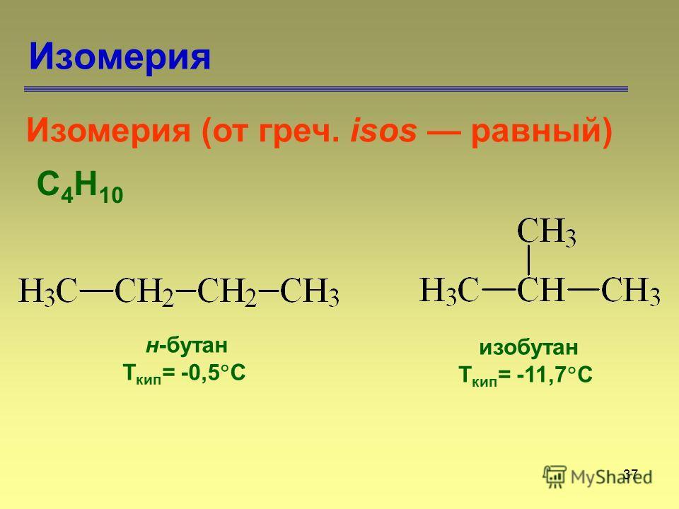 37 Изомерия С 4 Н 10 Изомерия (от греч. isos равный) н-бутан Т кип = -0,5 С изобутан Т кип = -11,7 С