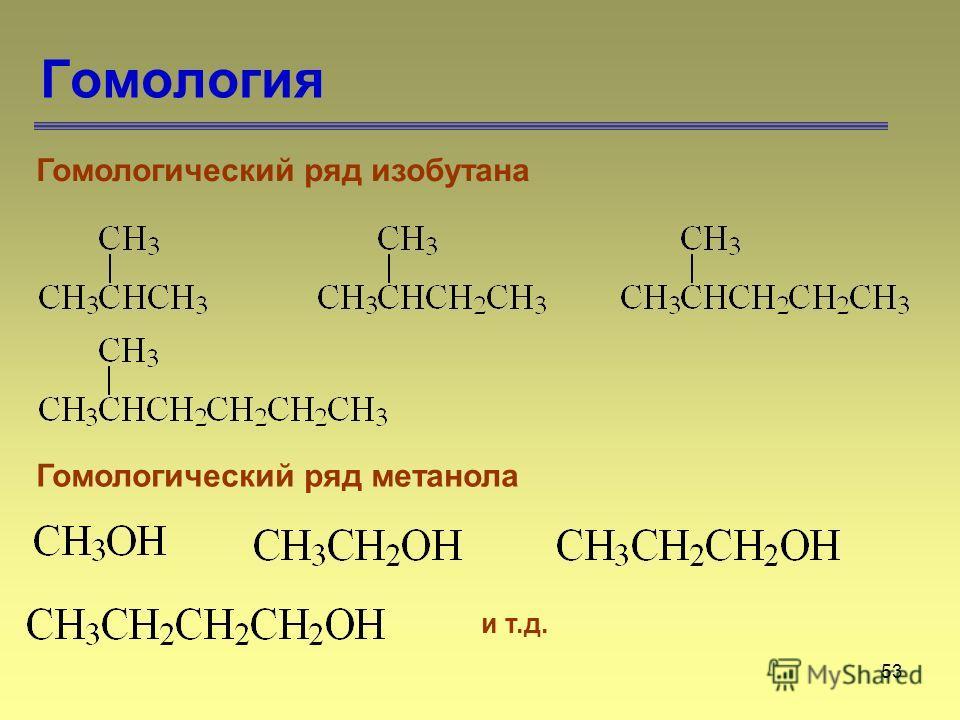 53 Гомология Гомологический ряд изобутана и т.д. Гомологический ряд метанола