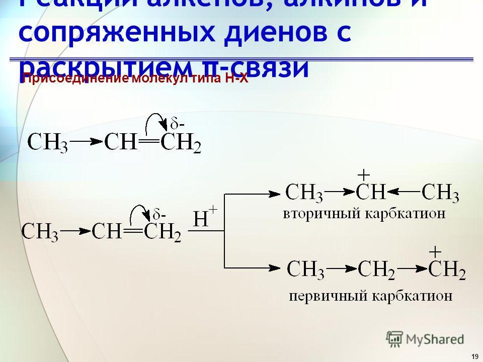 19 Реакции алкенов, алкинов и сопряженных диенов с раскрытием π-связи Присоединение молекул типа H-X