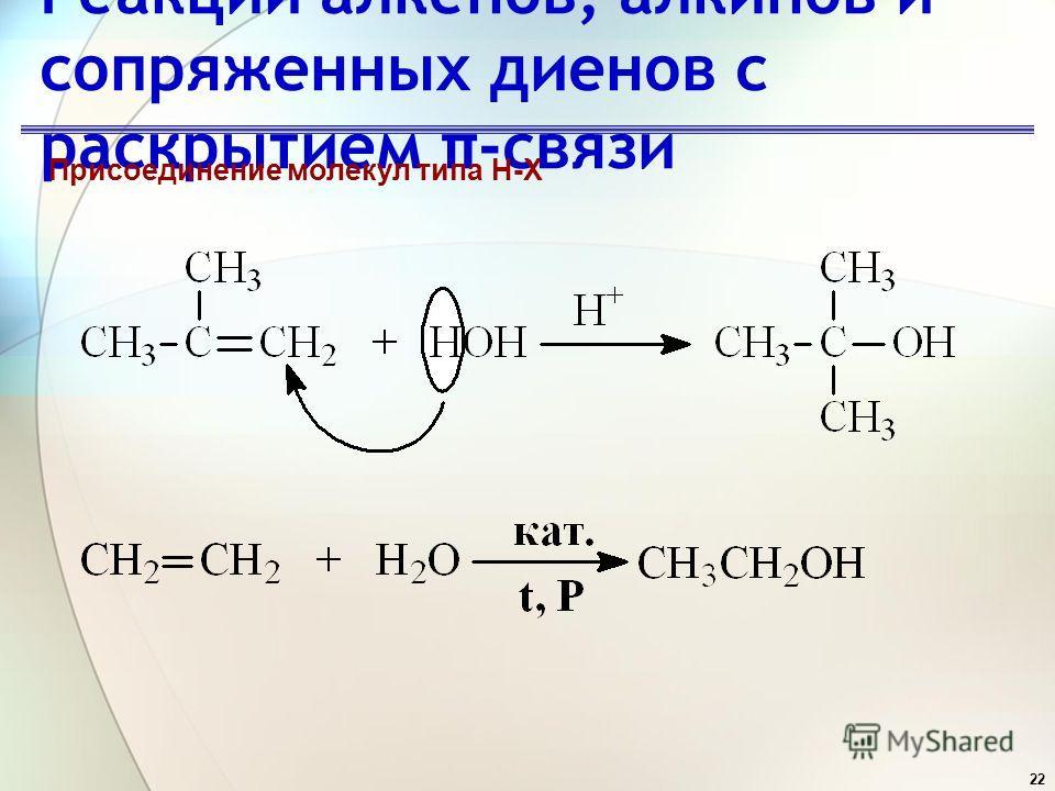22 Реакции алкенов, алкинов и сопряженных диенов с раскрытием π-связи Присоединение молекул типа H-X