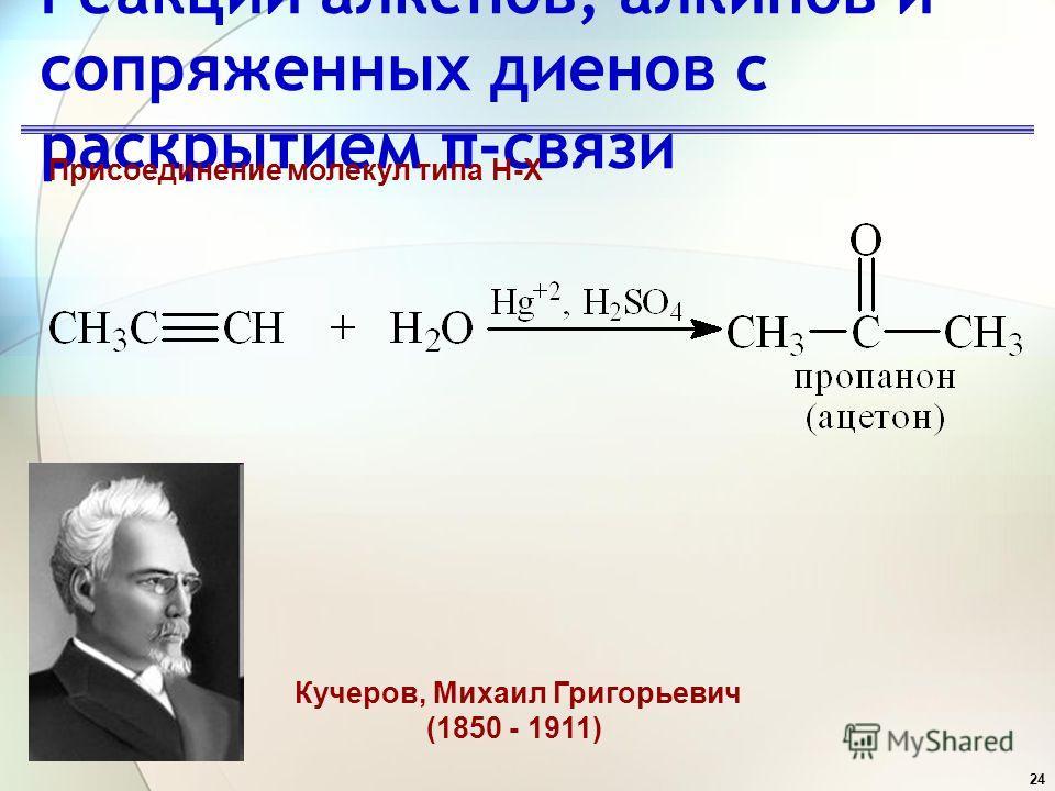 24 Реакции алкенов, алкинов и сопряженных диенов с раскрытием π-связи Присоединение молекул типа H-X Кучеров, Михаил Григорьевич (1850 - 1911)