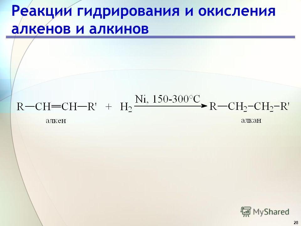 28 Реакции гидрирования и окисления алкенов и алкинов