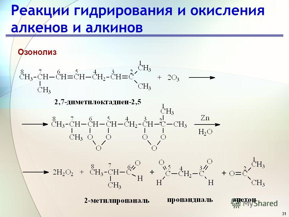 31 Реакции гидрирования и окисления алкенов и алкинов Озонолиз