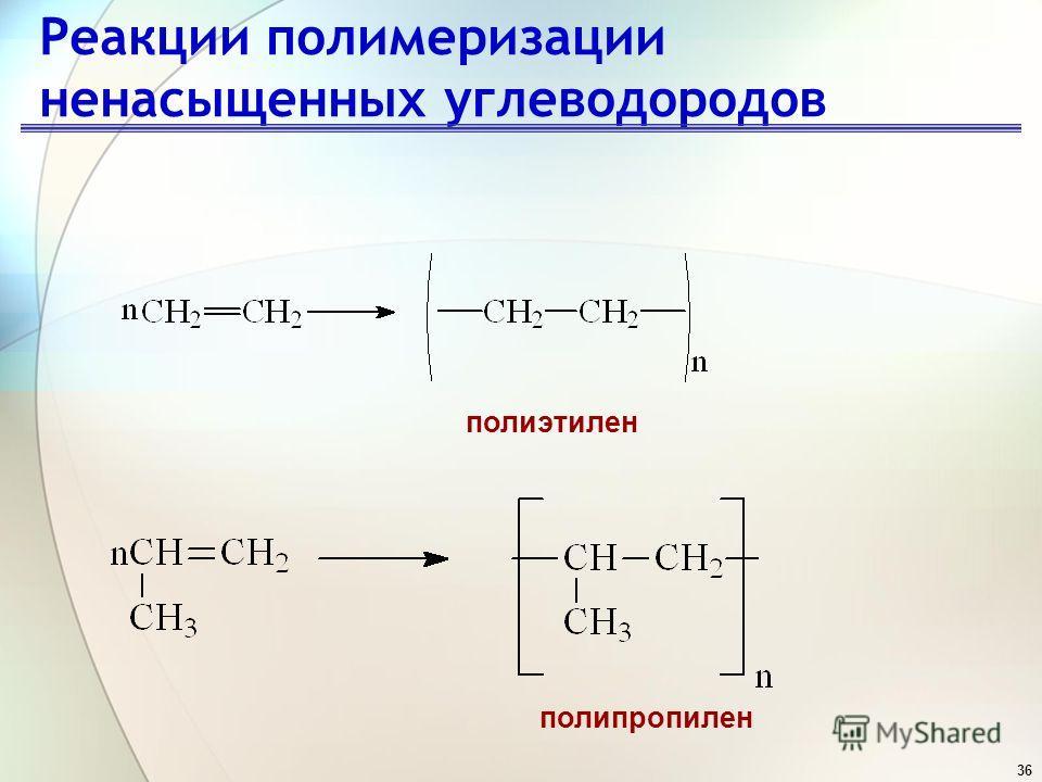 36 Реакции полимеризации ненасыщенных углеводородов полиэтилен полипропилен
