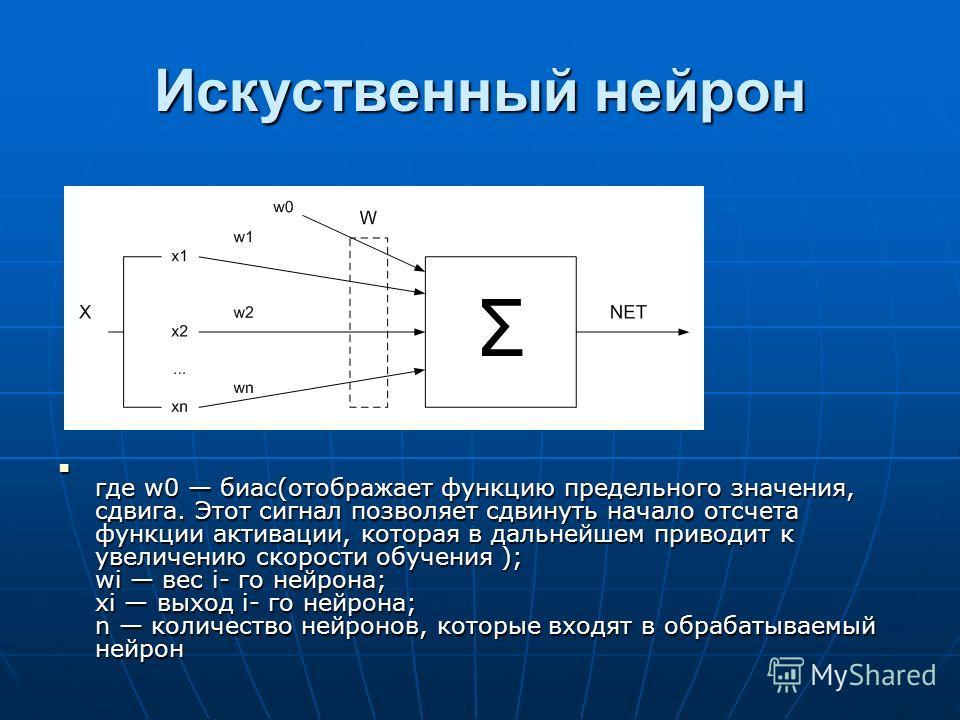 Искуственный нейрон где w0 биас(отображает функцию предельного значения, сдвига. Этот сигнал позволяет сдвинуть начало отсчета функции активации, которая в дальнейшем приводит к увеличению скорости обучения ); wі вес i- го нейрона; xі выход i- го ней