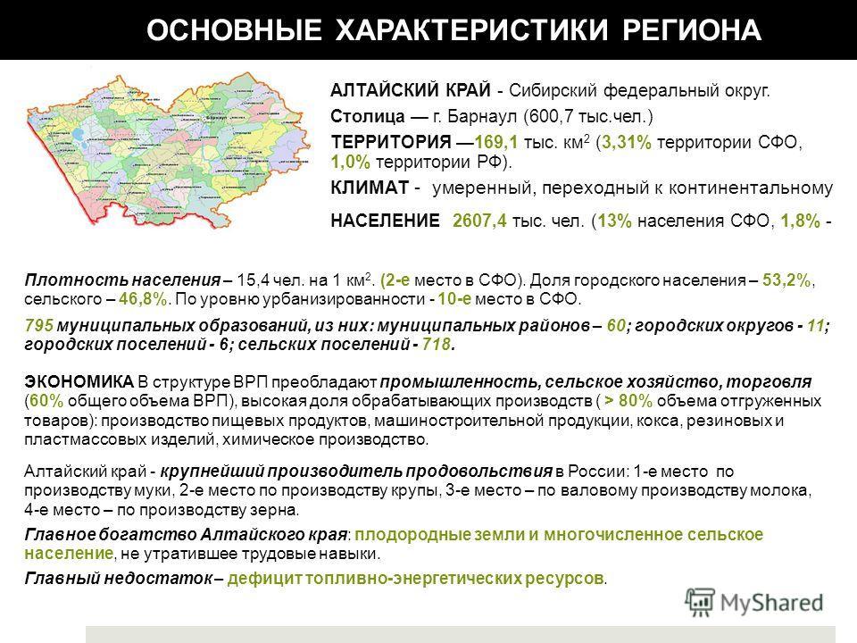 АЛТАЙСКИЙ КРАЙ - Сибирский федеральный округ. Столица г. Барнаул (600,7 тыс.чел.) ТЕРРИТОРИЯ 169,1 тыс. км 2 (3,31% территории СФО, 1,0% территории РФ). КЛИМАТ - умеренный, переходный к континентальному ЭКОНОМИКА В структуре ВРП преобладают промышлен