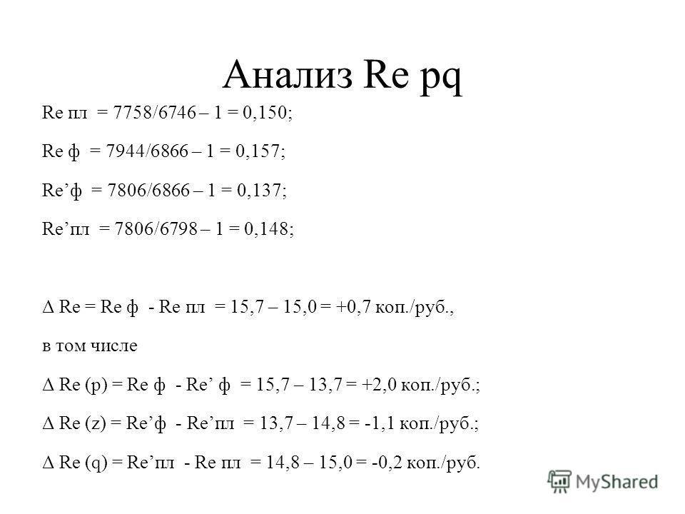 Анализ Re pq Re пл = 7758/6746 – 1 = 0,150; Re ф = 7944/6866 – 1 = 0,157; Reф = 7806/6866 – 1 = 0,137; Reпл = 7806/6798 – 1 = 0,148; Δ Re = Re ф - Re пл = 15,7 – 15,0 = +0,7 коп./руб., в том числе Δ Re (p) = Re ф - Re ф = 15,7 – 13,7 = +2,0 коп./руб.