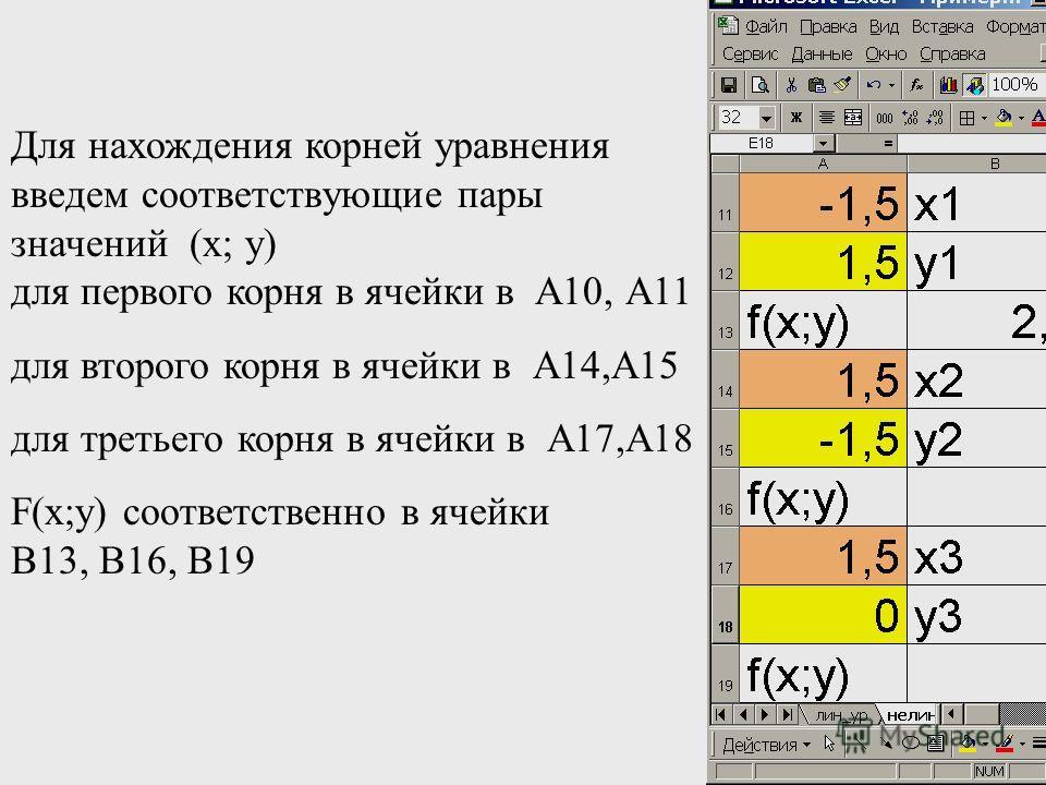 Для нахождения корней уравнения введем соответствующие пары значений (х; у) для первого корня в ячейки в А10, А11 для второго корня в ячейки в А14,А15 для третьего корня в ячейки в А17,А18 F(x;y) соответственно в ячейки В13, В16, В19