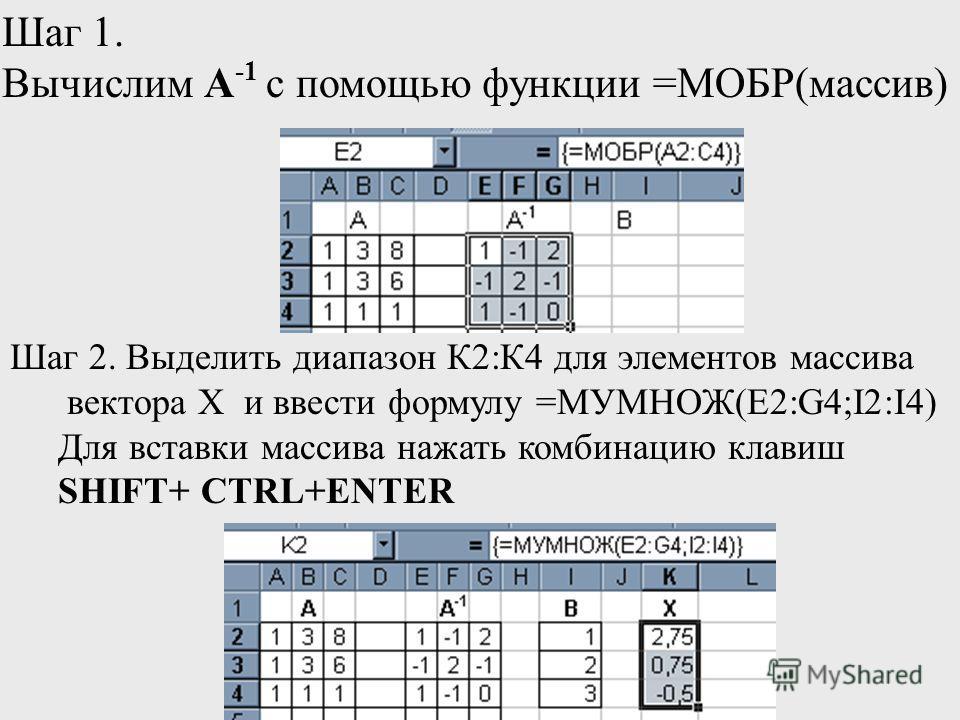 Шаг 1. Вычислим А -1 с помощью функции =МОБР(массив) Шаг 2. Выделить диапазон К2:К4 для элементов массива вектора Х и ввести формулу =МУМНОЖ(E2:G4;I2:I4) Для вставки массива нажать комбинацию клавиш SHIFT+ CTRL+ENTER