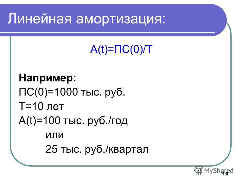 16 Линейная амортизация: A(t)=ПС(0)/Т Например: ПС(0)=1000 тыс. руб. Т=10 лет А(t)=100 тыс. руб./год или 25 тыс. руб./квартал