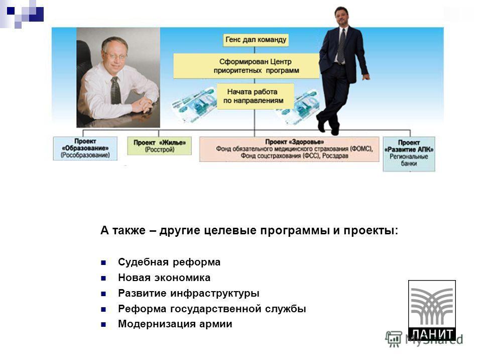 А также – другие целевые программы и проекты: Судебная реформа Новая экономика Развитие инфраструктуры Реформа государственной службы Модернизация армии