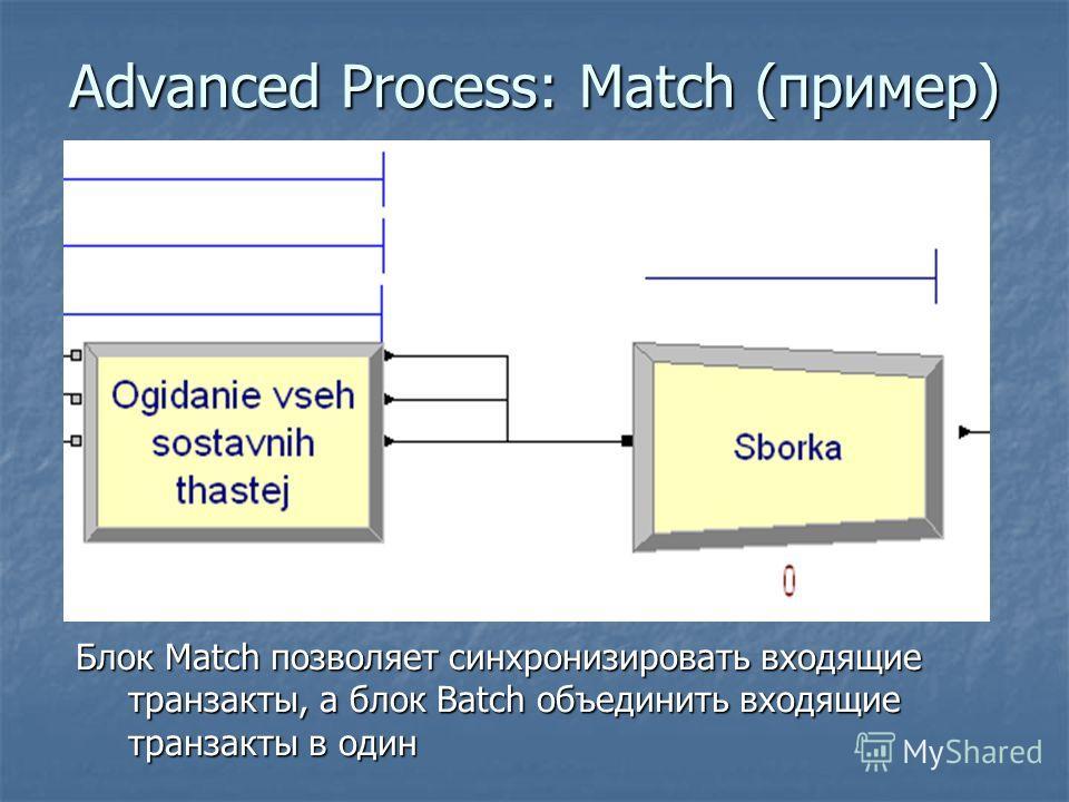 Advanced Process: Match (пример) Блок Match позволяет синхронизировать входящие транзакты, а блок Batch объединить входящие транзакты в один