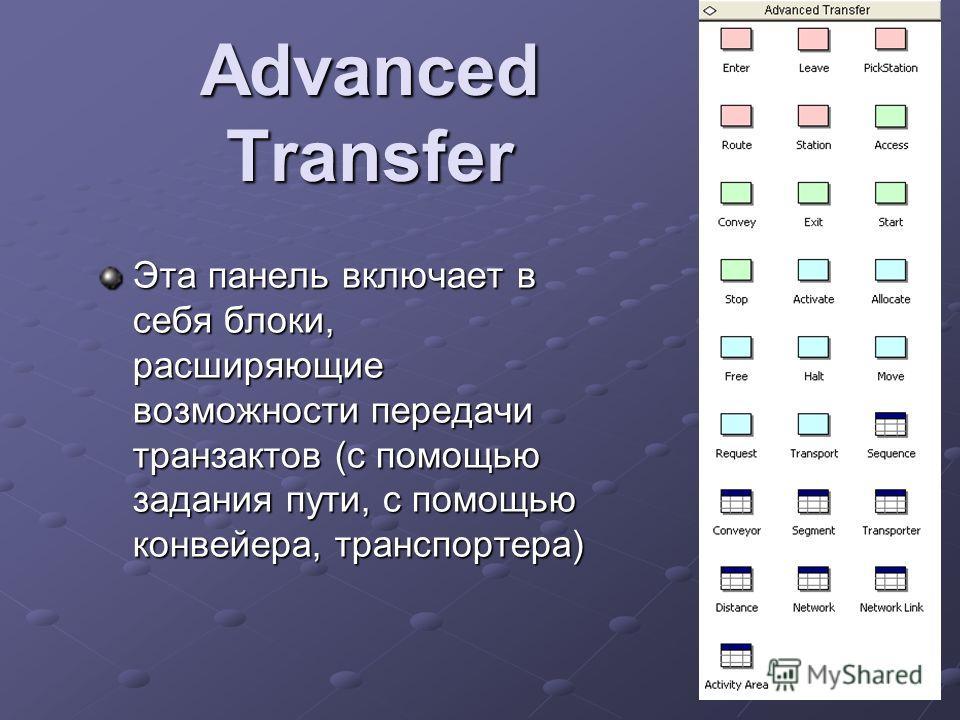 Advanced Transfer Эта панель включает в себя блоки, расширяющие возможности передачи транзактов (с помощью задания пути, с помощью конвейера, транспортера)