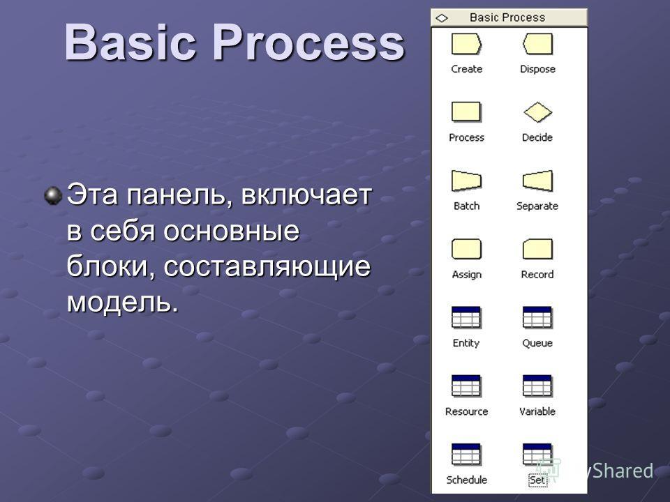 Basic Process Эта панель, включает в себя основные блоки, составляющие модель.