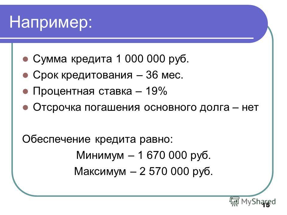 15 Например: Сумма кредита 1 000 000 руб. Срок кредитования – 36 мес. Процентная ставка – 19% Отсрочка погашения основного долга – нет Обеспечение кредита равно: Минимум – 1 670 000 руб. Максимум – 2 570 000 руб.