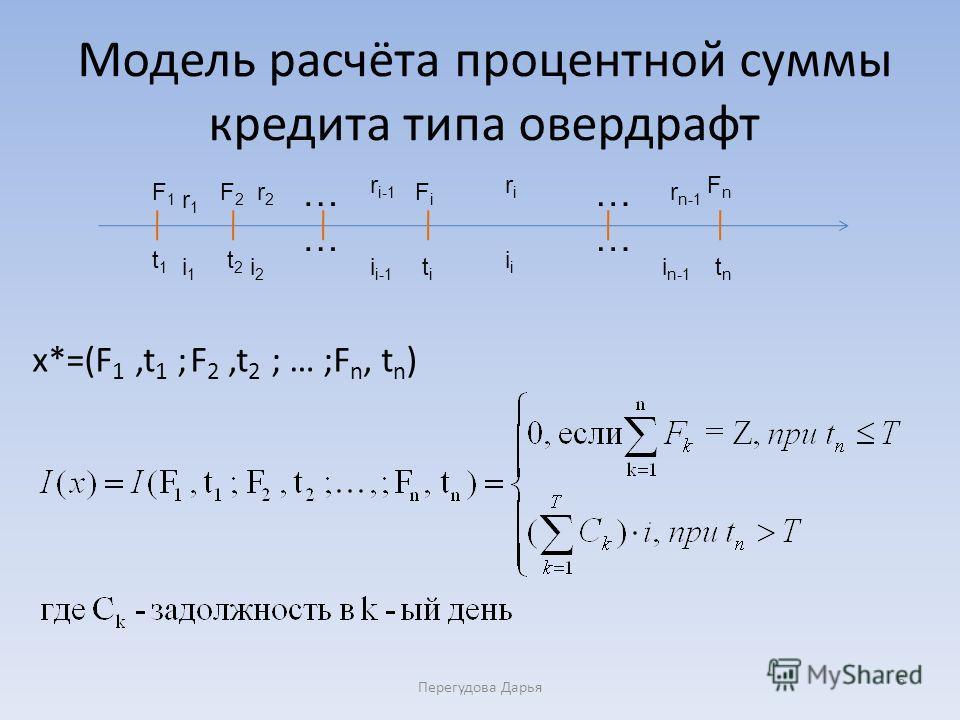 Модель расчёта процентной суммы кредита типа овердрафт x*=(F 1,t 1 ; F 2,t 2 ; … ;F n, t n ) Перегудова Дарья 6 t2t2 t1t1 tntn F1F1 F2F2 FnFn FiFi titi … … … … r1r1 r2r2 r n-1 r i-1 riri i1i1 i2i2 i i-1 i i n-1