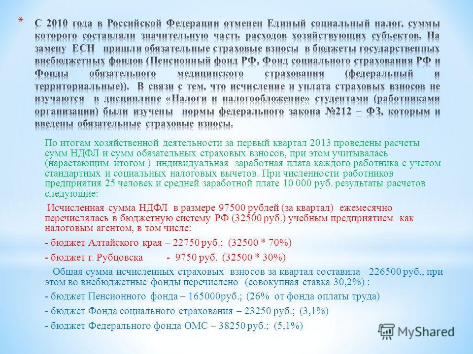 По итогам хозяйственной деятельности за первый квартал 2013 проведены расчеты сумм НДФЛ и сумм обязательных страховых взносов, при этом учитывалась (нарастающим итогом ) индивидуальная заработная плата каждого работника с учетом стандартных и социаль